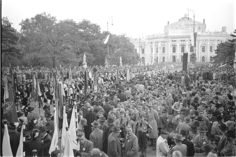Protestkundgebung der Südtiroler in Wien, Aufmarsch Ringstraße, diverse Fahnen von Kern, Fritz