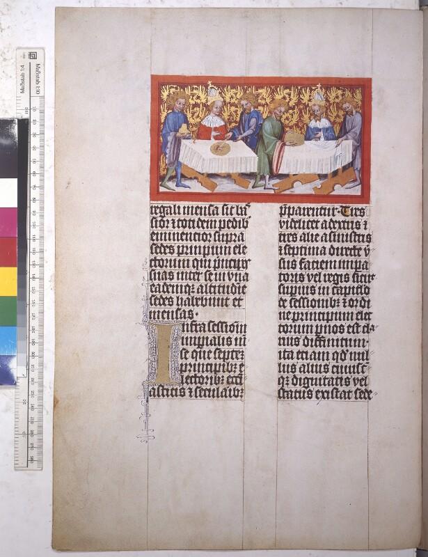 Cod. 338 (Faksimile), fol. 42v: Goldene Bulle u. a.