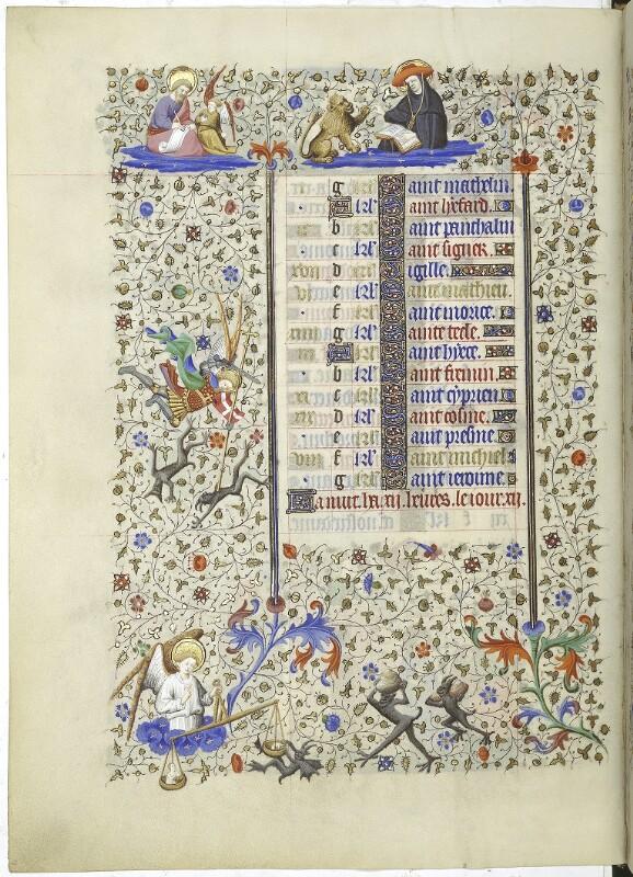Cod. 1855, fol. 9v: Livre d'heures: Kalenderseite zu September (2. Teil)