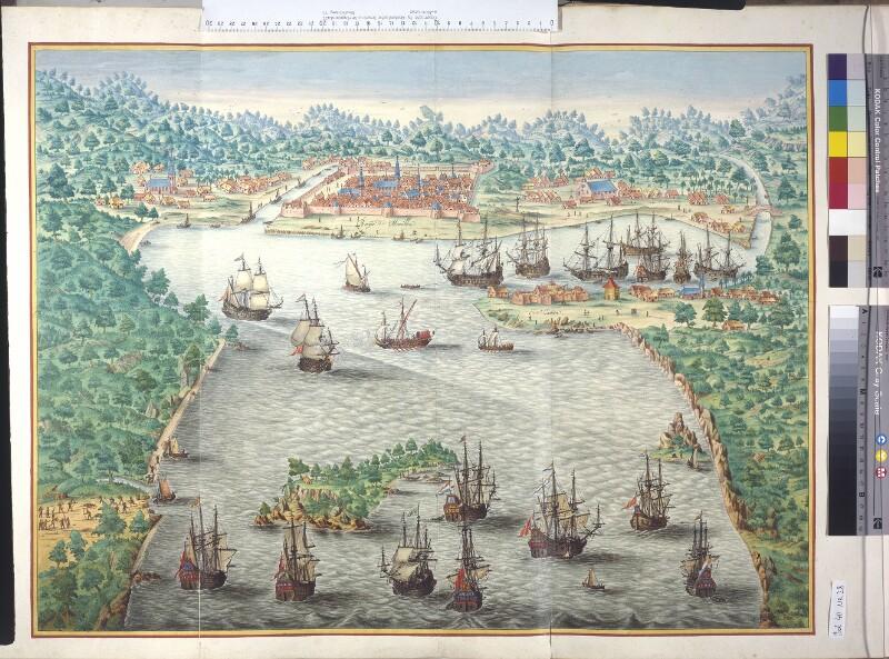 Der holländische Angriff auf Cavite von 1647 aus der Vogelschau von Vingboons, Johannes