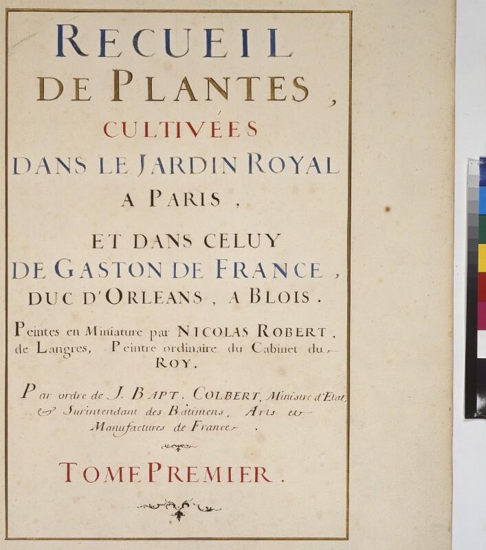 Cod. Min. 53, Bd. 1 fol. Ir: Florilegium des Prinzen Eugen von Savoyen: Titelblatt Band 1