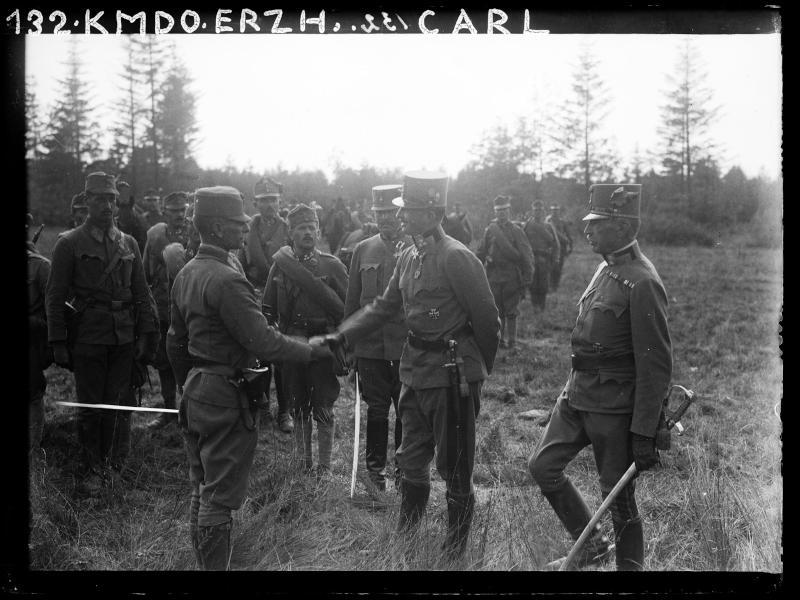 Erzherzog Karl Franz Josef bei der Inspizierung auf dem nordöstlichen Kriegsschauplatz von K.u.k. Kriegspressequartier, Lichtbildstelle - Wien