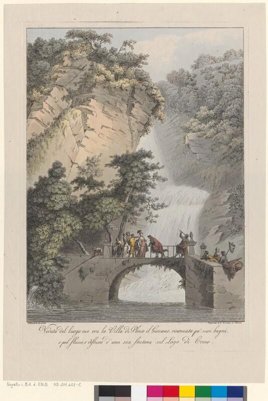 Veduta del luogo ove era la villa di Plinio il Giovane, rinomata pe' suoi bagni, e pel flusso, e riflusso d'una sua fontana sul Lago di Como von Mantelli, Girolamo