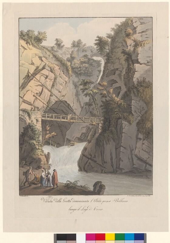 Veduta della Grotta denominata l'Orido presso Bellano lungo il Lago di Como von Mantelli, Girolamo