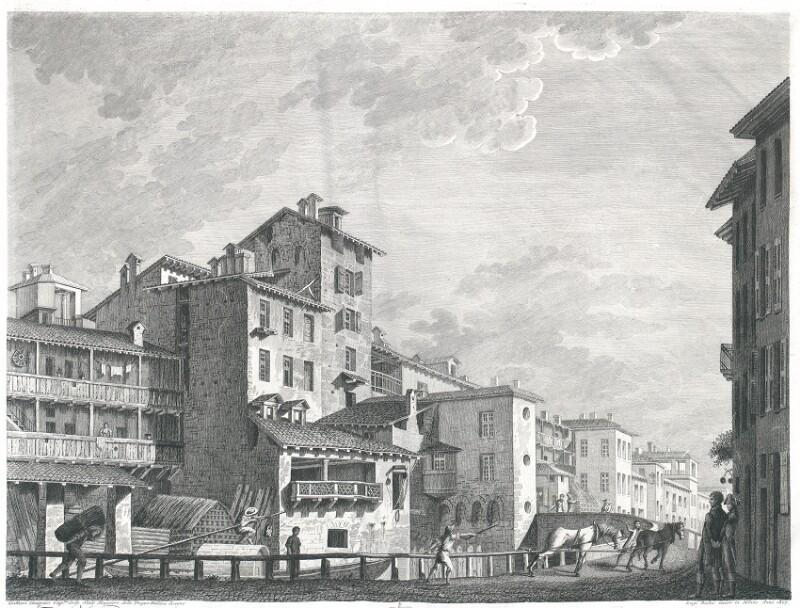 Veduta del Ponte di Porta Marenco lungo il Naviglo (!), venendo del Ponte de Fabbri in Milano von Rados, Luigi