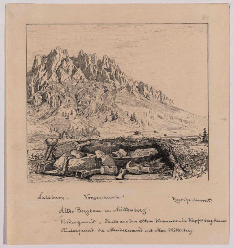 Mitterbergalpe und Mandlwand mit Funden aus den alten Verhauen des Kupferbergbaus von Charlemont, Hugo