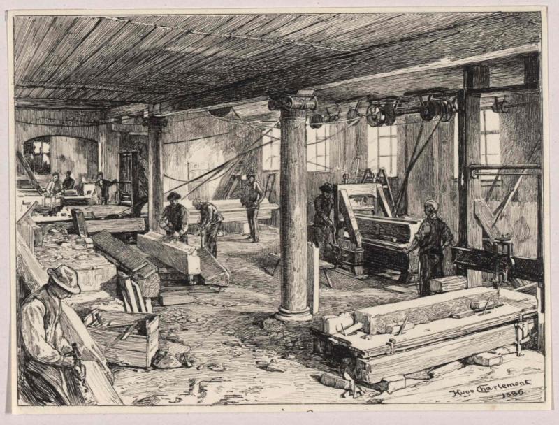 Steinhobel in der Marmorwarenfabrik in Oberalm bei Hallein von Charlemont, Hugo