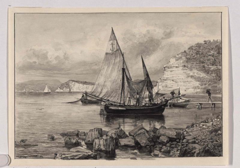 Sardellenfischer in Istrien auf der Süsswasserstation von Charlemont, Hugo