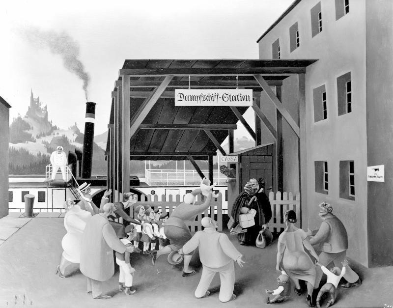 Bei der Dampfschiff-Station. von Sedlacek, Franz