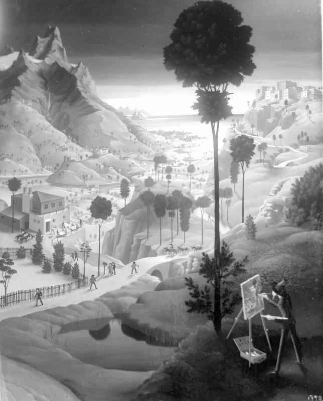 Landschaft mit Maler von Sedlacek, Franz